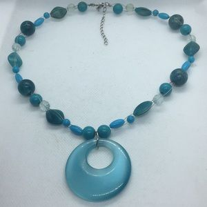 Lucite Blue Bead Wired Beads Circle Disc Necklace